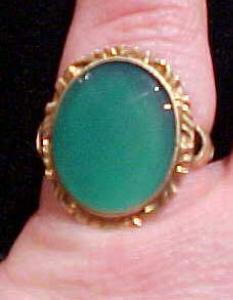 Gold filled ring with green glass stone (Image1)