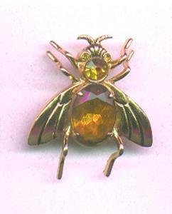 Coro bug pin with topaz rhinestone (Image1)