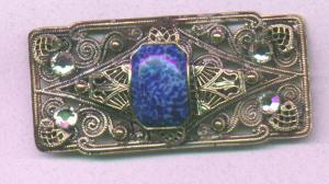 Czechoslovakian pin with blue galss and rhinestones (Image1)