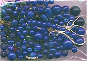 bag of blue glass beads (Image1)