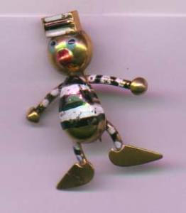 Whimsical pin of a guy in a prison uniform (Image1)