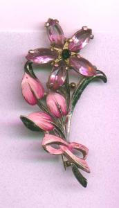 Pot metal , enamel  and rhinestone flower pin (Image1)