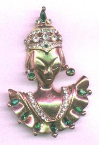 Vermeil Asian Woman Retro Pin (Image1)