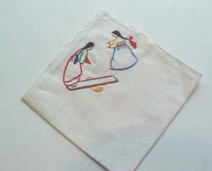 Handkerchief with hand embroidered Asian Women (Image1)