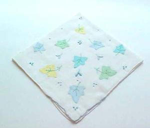 Vintage pastel colored appliqued leaf design handkerchief (Image1)