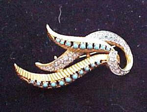 Goldtone pin with fauz turquoise and rhinestones (Image1)