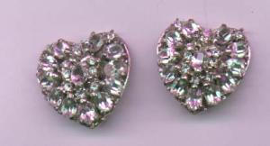 hollycraft rhinestone heart shaped earrings (Image1)
