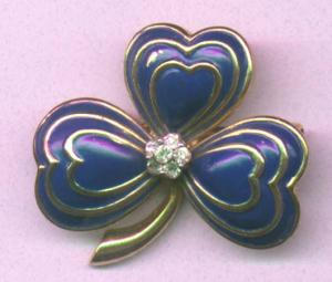 Jomaz enamel and rhinestone clover pin (Image1)