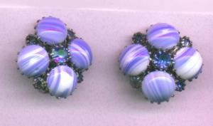 Weiss blue glass and rhinestone earrings (Image1)