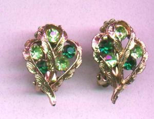 Green and light green rhinestone earrings (Image1)