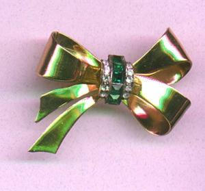 Coro bow pin with rhinestones (Image1)