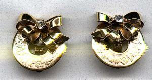 Retro Sterling vermeil bow earrings with rhinestones (Image1)