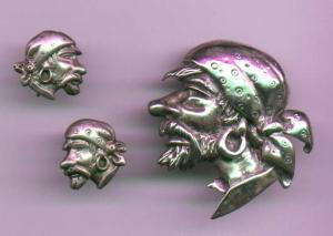 Sterling silver Pirate pin and earrings by Marleen (Image1)