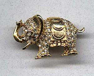 Elephant pin with rhinestones (Image1)