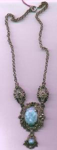 Marcasite and faux turquoise necklace (Image1)
