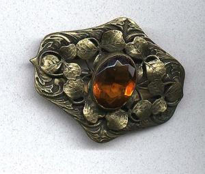 Art Nouveau sash pin with topaz glass stone (Image1)