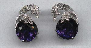 Halbe sapphire and clear rhinestone earrings (Image1)