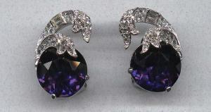 Halbe sapphire and clear rhinestone earrings (Image1)