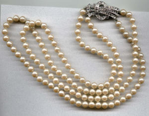 Double strand faux pearls w/rhinestones (Image1)