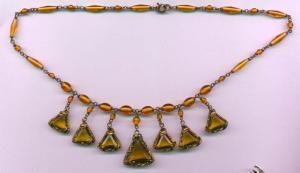 Czechoslovakian topaz glass necklace with dan (Image1)