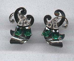 Bohlinger green and clear rhinestone earrings (Image1)