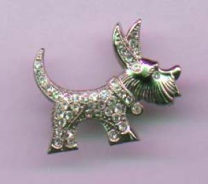 Schnauzer dog pin with rhinestones (Image1)