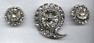 Eisenberg Rhinestone Pin and Earrings (Image1)