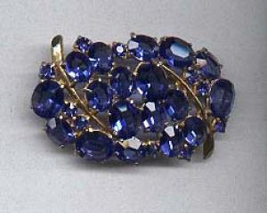 Blue open back rhinestone pin. (Image1)