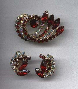 AB and red rhinestone pin and earrings (Image1)