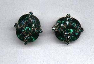 Green rhinestone earrings (Image1)