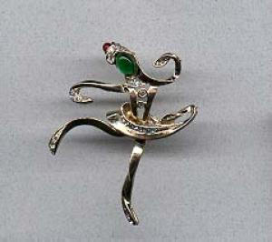 Dancer pin with rhinestones and cabachons (Image1)