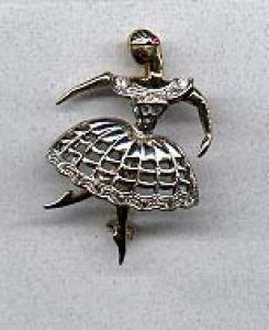 Ballerina pin with rhinestones (Image1)