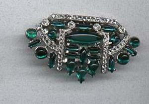 Art deco rhinestone and cabachon dress clip (Image1)