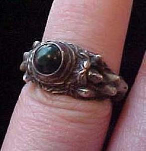 Art Nouveau silver ring with nude ladies (Image1)