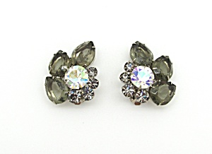 Smoke & Ab Rhinestone Earrings