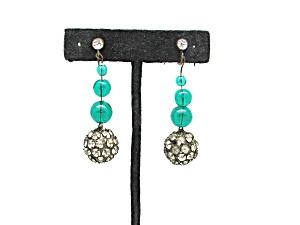 Art Deco earrings w/rhinestones & glass bead (Image1)