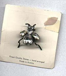 Austrian rhinestone bug pin on card (Image1)