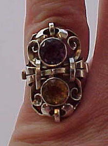 Sterling art nouveau ring w/amethyst & topaz (Image1)
