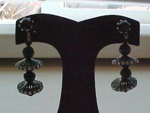 Black plastic earrings with rhinestones (Image1)