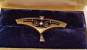 Art Deco 14k pin w/diamond & pearl (Image1)