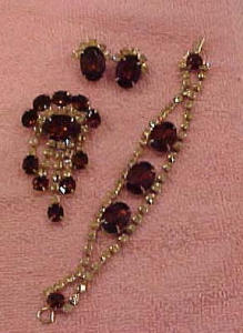 3 pc rhinestone bracelet, pin and earrings (Image1)