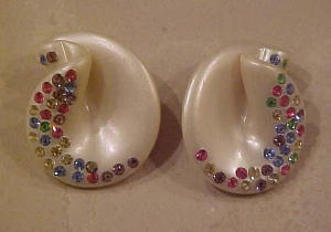 Thermoplastic earrings with rhinestones (Image1)
