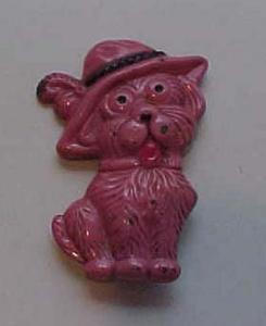Pink metal dog pin (Image1)