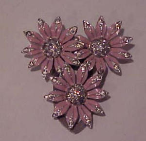 enamel and rhinestone flower dress clip (Image1)
