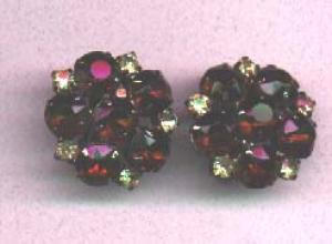 Topaz and yellow rhinestone earrings (Image1)