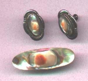 Sterling earrings and pin with abalone shell (Image1)