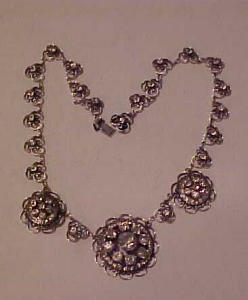 Sterling rhinestone filligree necklace (Image1)