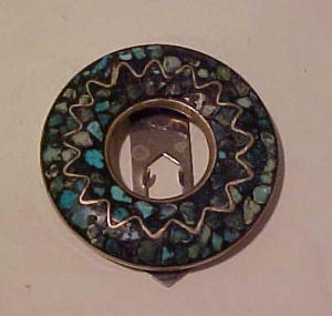 Silver dress clip w/turquoise (Image1)
