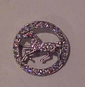 pot metal and rhinestone horse pin (Image1)