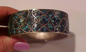 Silver bangle with turquoise (Image1)